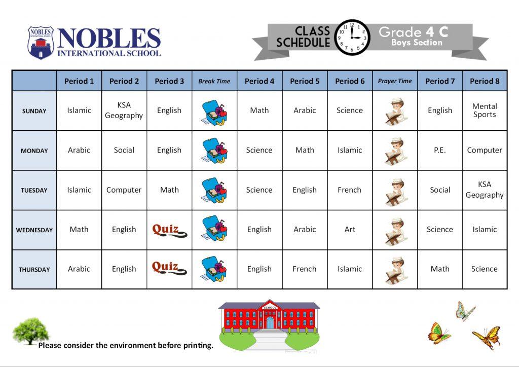 Class Schedule Boys Section Nobles International School